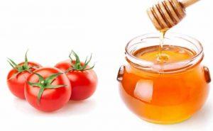mật ong và cà chua trị nám da