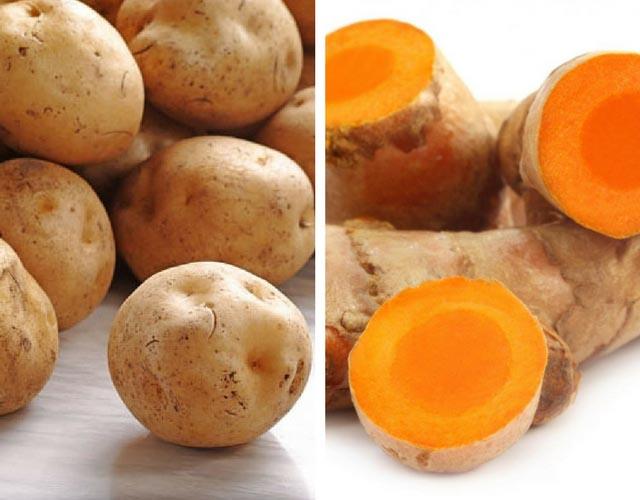 Kết hợp khoai tây và nghệ trị nám da