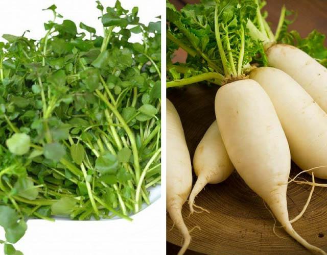 Chữa nám tàn nhang bằng cải xoong và củ cải trắng