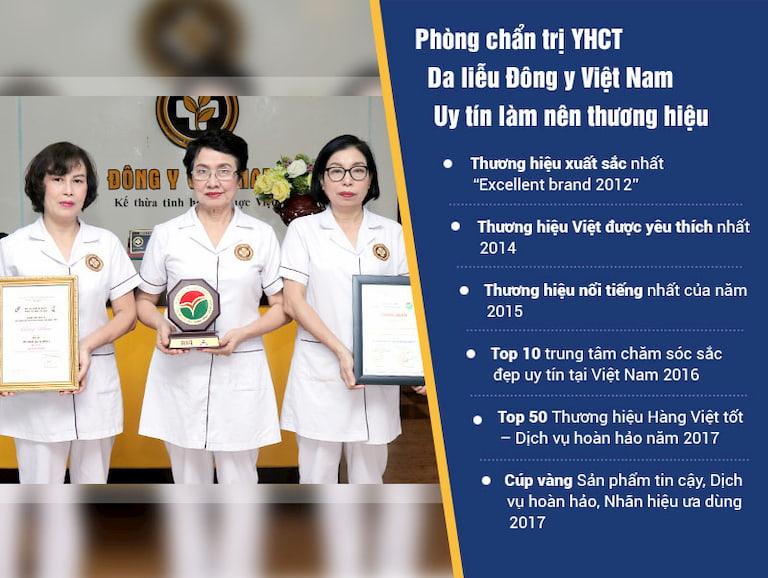 Trung Tâm Da liễu Đông Y Việt Nam nhận được rất nhiều thành tựu danh giá