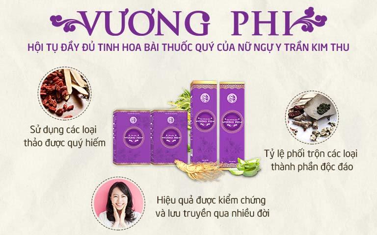 Bộ sản phẩm Vương Phi được nghiên cứu và sản xuất bởi Trung tâm Da liễu Đông y Việt Nam