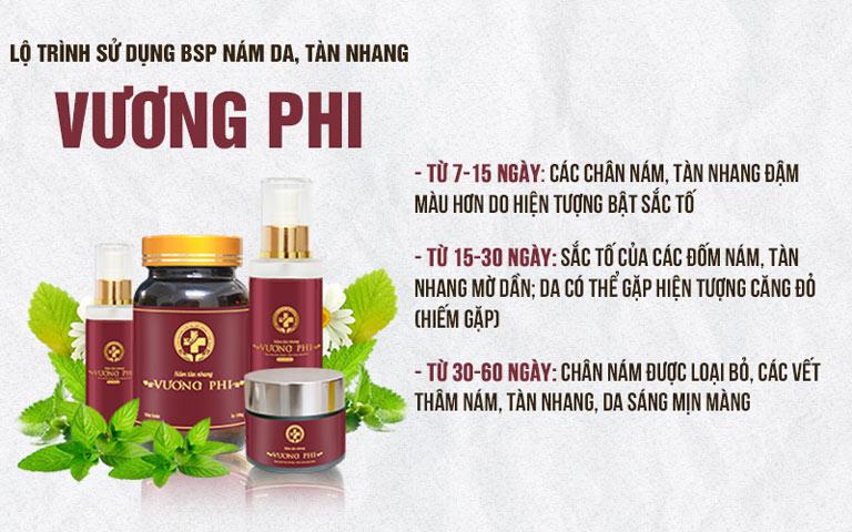 Liệu trình sử dụng của Bộ sản phẩm Nám Tàn nhang Vương Phi