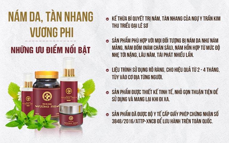Những ưu điểm của Bộ sản phẩm Nám Tàn nhang Vương Phi