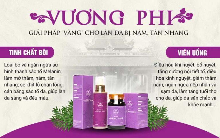 Công dụng của bộ sản phẩm Nám da, tàn nhang Vương Phi