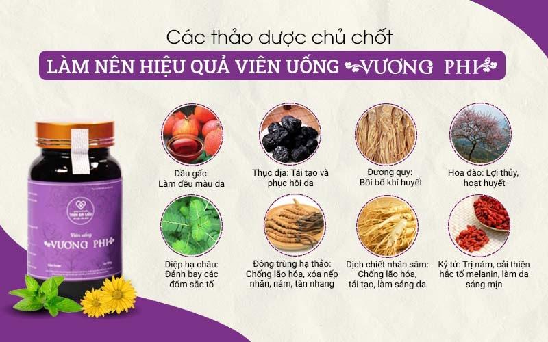 Công dụng của các loại thảo dược có trong Bộ sản phẩm trị nám tàn nhang Vương Phi