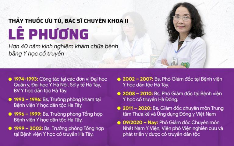 Thầy thuốc ưu tú, bác sĩ Lê Phương hiện là Giám đốc Chuyên môn Trung tâm Da liễu Đông y Việt Nam kiêm Phó Giám đốc Chuyên môn Nhất Nam Y Việnn