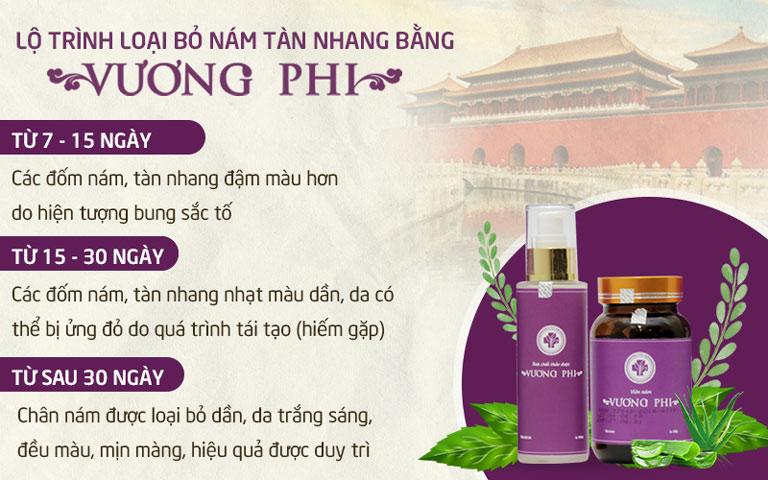 Lộ trình sử dụng bộ sản phẩm Nám da Tàn nhang Vương Phi