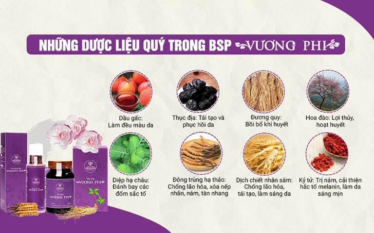 Thành phần dược liệu hảo hạng cấu thành bộ sản phẩm Vương Phi