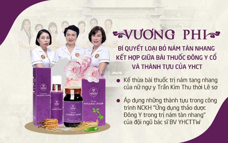Bộ sản phẩm Vương Phi thuộc sở hữu độc quyền của Trung tâm Da liễu Đông y Việt Nam