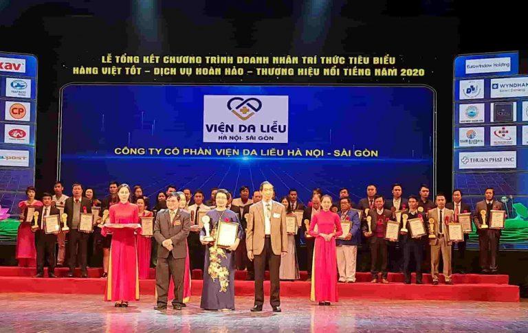 """Viện Da liễu Hà Nội - Sài Gòn vinh dự được tôn vinh tại chương trình """"Hàng Việt tốt - Dịch vự hoàn hảo - Thương hiệu nổi tiếng 2020"""""""
